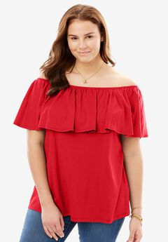 Off-The-Shoulder Ruffled Tee, HOT RED, hi-res