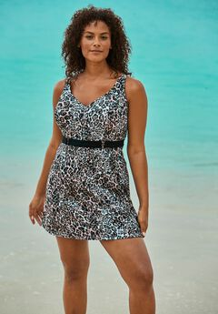 Underwire Belted Swim Dress ,