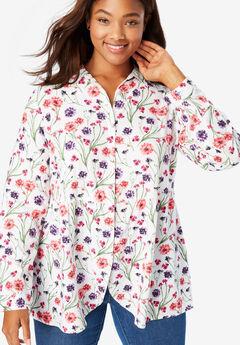 Tulip Hem Peplum Button Front Shirt,