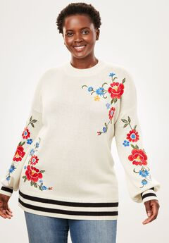 Floral Embroidered Blouson-Sleeve Sweater, IVORY EMBROIDERY, hi-res