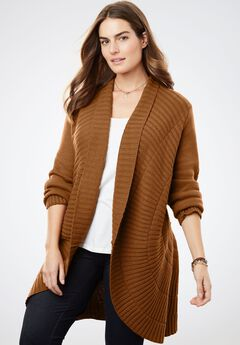Open Front Pointelle Cardigan, ANTIQUE COPPER