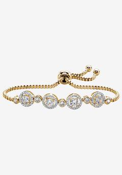 "Yellow Gold-Plated Halo Strand Bracelet (8mm), CZ, 9"" Adjustable by PalmBeach Jewelry,"