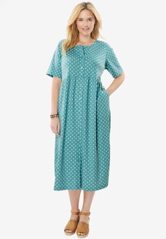 Dress with button front, empire waist by Only Necessities®, SOFT AQUA FOULARD, hi-res