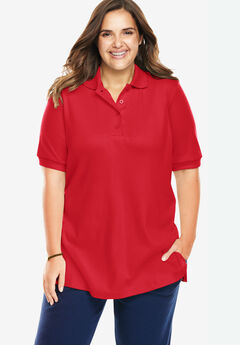 Elbow-Sleeve Tunic Polo Shirt, VIVID RED
