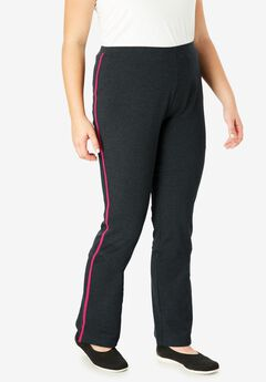 Stretch Cotton Side-Striped Bootcut Yoga Pant,