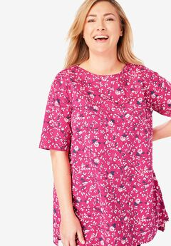Perfect Printed Boatneck Tunic, RASPBERRY SORBET ROSE VINE