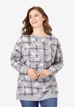 Fleece Sweatshirt, HEATHER GREY FLORAL PLAID