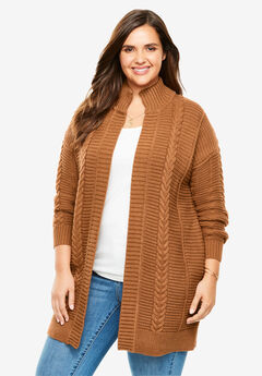 Chunky Knit Cardigan, GINGER