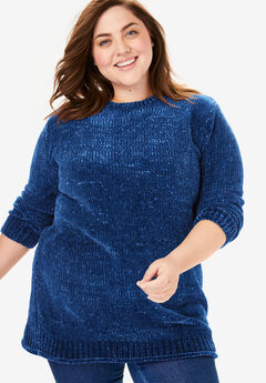 Chenille Crewneck Sweater, EVENING BLUE
