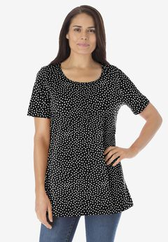 Perfect Printed Scoop Neck Tee, BLACK OFFSET DOT