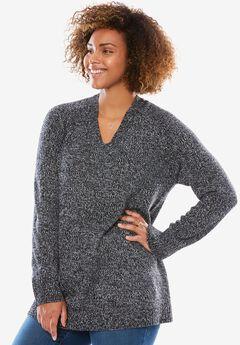 V-Neck Pullover, BLACK WHITE, hi-res