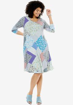 Trapeze dress, IVORY MIX PATCH, hi-res