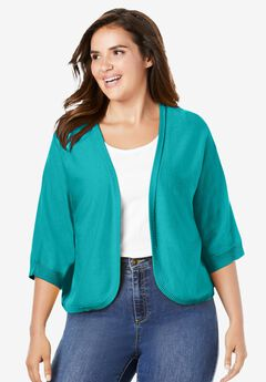 Rib Trim Cardigan Shrug,