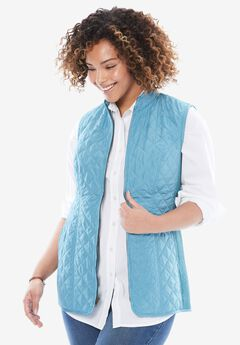 Diamond-Quilted Zip Front Vest, OASIS