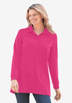 Long-Sleeve Tunic Polo Shirt, RASPBERRY SORBET