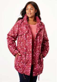 Quick drying Taslon® parka fleece-lined jacket, RICH BURGUNDY FLORAL, hi-res