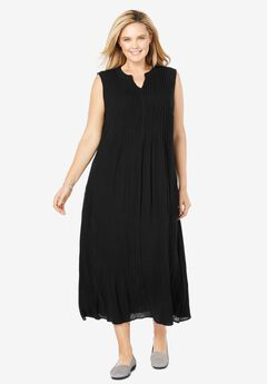 Sleeveless Pintuck Crinkle Dress, BLACK