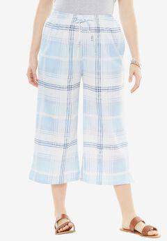 Drawstring Linen Culottes,