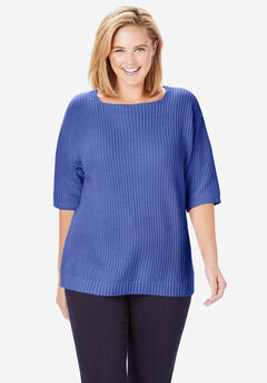 Three-Quarter Sleeve Pullover Shaker Sweater, TULIP PURPLE
