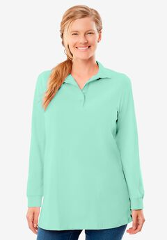 Long-Sleeve Polo Shirt, AQUAMARINE