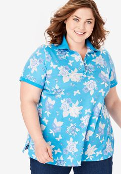 Perfect Printed Polo Tee, BLUE SPLASH BUTTERFLY FLORAL