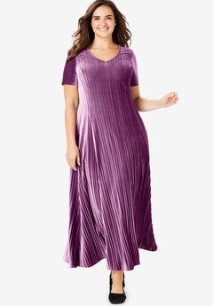 Pleated Crinkle Velour Dress,