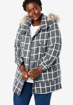 Wool-Blend Duffle Coat, GREY BRUSHED PLAID