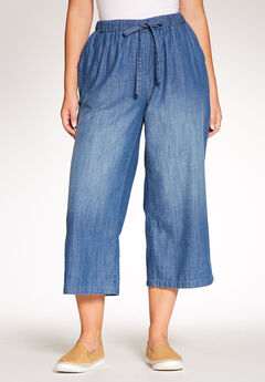 Drawstring Chambray Relaxed Capri,