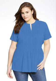 Short-sleeve pintuck gauze shirt, LIGHT SAPPHIRE, hi-res