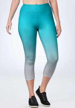 Ombre Capri Legging by fullbeauty SPORT®, VIBRANT TURQ OMBRE, hi-res