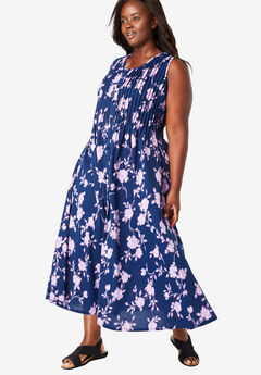 Pintucked Floral Sleeveless Dress,