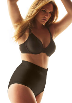 High waist shaping brief by Secret Solutions® Curvewear, BLACK, hi-res
