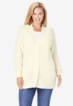 Long sleeve Button-Front Cardigan, IVORY