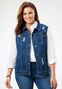 Stretch jean vest, MEDIUM STONEWASH DISTRESSED, hi-res