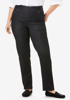 Straight Leg Smooth Waist Jean, BLACK DENIM