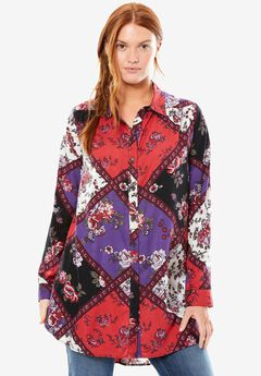 Chelsea Studio® Tie-front extra long tunic, WINTER QUILTED CHILI PEPPER, hi-res