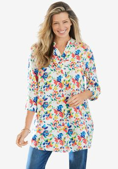 Three-Quarter Sleeve Tab-Front Tunic, WHITE WATERCOLOR BLOSSOM