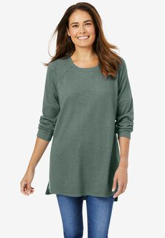 Washed Thermal Raglan Sweatshirt,