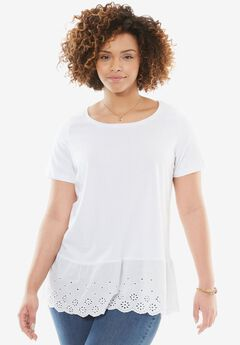 Eyelet-Embroidered Flounce Hem Tee, WHITE, hi-res