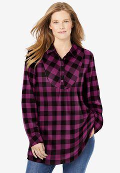 Henley Bib Flannel Shirt, DEEP CLARET BUFFALO PLAID