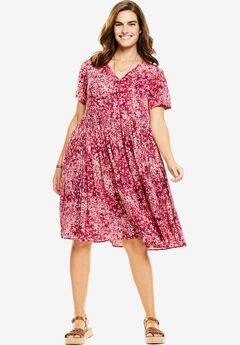 Short, button-front crinkle dress, RUBY BERRY SHADOW FLORAL, hi-res