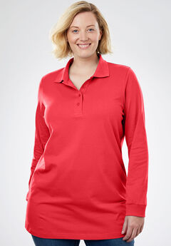 Perfect Long Sleeve Polo Tunic, CORAL RED