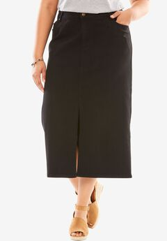 Front Slit Stretch Jean Skirt,