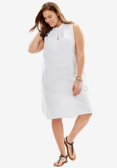 Sleeveless Pintuck Dress, WHITE, hi-res