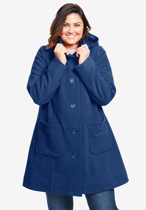 Hooded A Line Fleece Jacket Plus Size Jackets Woman Within