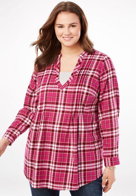 Pleat Front Notch Neck Plaid Flannel Tunic Plus Size Shirts