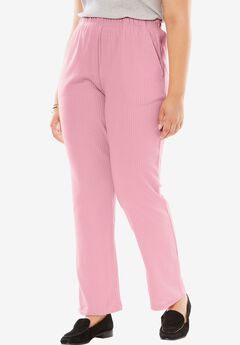 7-Day Knit Ribbed Straight Leg Pant, ROSE MIST, hi-res