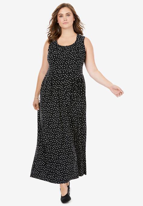 empire-waist Print maxi dress