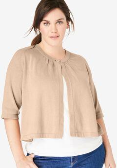 Shrug cardigan sweater, NEW KHAKI, hi-res
