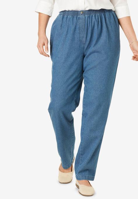 582dafa4a74 Elastic-Waist Cotton Straight Leg Pant